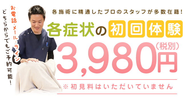各症状の初回体験3,980円(税別)